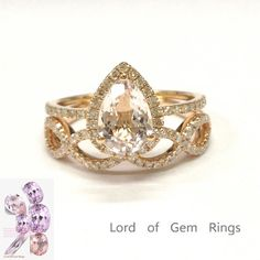 Pear Morganite Engagement Ring Sets Pave Diamond Wedding 14K Rose Gold 6x8mm - Lord of Gem Rings - 1