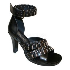 The features for these military heels include a faux leather upper in a strappy design with bullet decor, open toe, stitched detailing, side buckle closure, smooth lining, and cushioned footbed. Approximately 3 3/4 inch heels and 1/2 inch platforms.