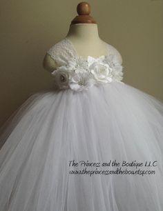 Flower girl dress, white tutu dress, baby tutu dress, toddler tutu dress, newborn-24m,3t,4t,5t, birthday,wedding