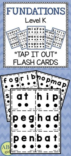 """FUNDATIONS®️ Level K aligned """"Tap it Out"""" Flash Cards. This file contains 414 """"tap it out"""" dotted word cards to help students learn to tap. Every real word from the Kindergarten Fundations®️ program is included. Students touch each dot for the corresponding sound then blend the sounds to read the word. The cards are organized and labeled by unit. Nonsense words are not included. Add these to your literacy centers or send them home for extra practice."""