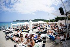 Macedonia, Greece Halkidiki Paliouri beach, best beach bar in Halkidiki Cabana beach bar Green Scenery, Athena Goddess, Beach Bars, Greece Travel, Cabana, Dolores Park, Good Things, World, Places