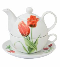 Ladies in Red Tulips Porcelain Tea for One 4pc Gift Set