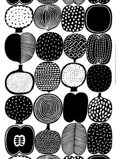 Marimekko Vatruska White/Black Fabric Repeat Various fruits adorn the Marimekko Vatruska Black/White Fabric on this playful yet refined print. Designer Aino-Maija Metsola also included an onion as an unexpected exception. Marimekko has a knack fo. Graphic Patterns, White Patterns, Print Patterns, Floral Patterns, Cool Patterns, Motifs Textiles, Textile Patterns, Surface Pattern Design, Pattern Art