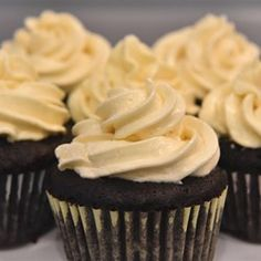 Chocolate Cupcakes - I used soymilk instead of regular milk and it was fine. Probably would still be good with less sugar