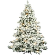 Vickerman 7.5 Flocked Alaskan Pine Artificial Christmas Tree with 800 Clear Lights and 45 G50 White Lights