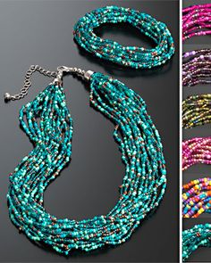 Hippy Necklace Bohemian Multi Strand Glass Seed Bead Necklace Fair Trade by Folio Gothic Hippy NK447