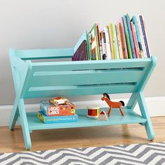 Love this bright book and magazine rack.