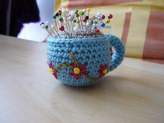 Amigurumi Tea Cup Pincushion, free pattern by Lion Brand Yarn