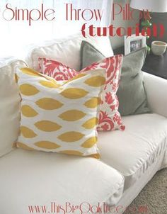 Sewing Pillows In search of a a throw pillow tutorial and found this one. Not only does it look super easy (even for a non-sewer like myself) but she has used the Suzani fabric style I plan to use as well. Easy Sewing Projects, Sewing Hacks, Sewing Tutorials, Sewing Crafts, Diy Projects, Sewing Patterns, Pillow Patterns, Sewing Tips, Sewing Ideas