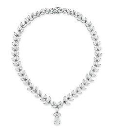 A DIAMOND PENDANT NECKLACE  Suspending a pear-shaped diamond, weighing approximately 3.17 carats, from a pear-shaped diamond triple link, to the marquise-cut diamond neckchain, mounted in 18k white gold, 17 ins.