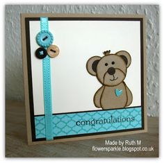 Flower Sparkle: Punch Art Teddy Bear Congratulations Card