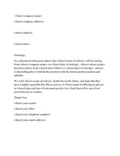 Farewell Letter - Sample letters to say goodbye to co-workers and ...