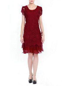 Crochet Lace Tiered Hem Dress