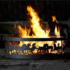 P & D Metal Works Mustangs Ring Fire Pit