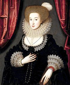 1610-1613 Mary Radclyffe by William Larkin.  Dau. of SirJohn Radcliffe of Ordsall and Alice Byron. Spouse of Sir John Stanhope of Elvaston.