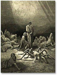 """Aracne. Ilustración de Gustave Dore para  """"La Divina Comedia"""" de Dante, 1861."""