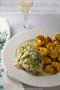 This easy oven-baked fish recipe takes humble white fish fillets and turns them into a cheffy meal with a creamy mustard saauce. Fish Recipes, Seafood Recipes, Oven Baked Fish, Creamy Mustard Sauce, Poached Salmon, Salmon Fillets, Fish And Seafood, The Dish, Food Dishes