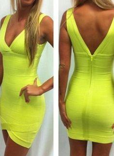 Green Sexy Dress - Starry green V-neck bandage dress