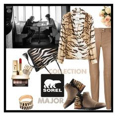 """""""SOREL contest entry"""" by iraavalon ❤ liked on Polyvore featuring Fontanelli, SOREL, Distinctive Designs, ESCADA, Roberto Cavalli, Clarins, Halcyon Days and Yves Saint Laurent"""