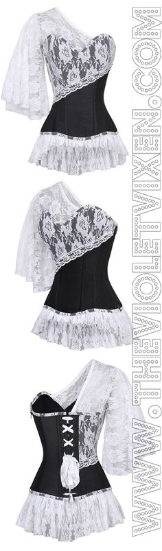 Lace and ruffles, oh my! Such a lovely corset. Steampunk Fashion, Gothic Fashion, Gothic Steampunk, Steampunk Clothing, Victorian Gothic, Gothic Lolita, Emo Fashion, Style Feminin, Diy Vetement