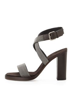 X2Q69 Brunello Cucinelli Monili Crisscross High-Heel Sandal, Graphite