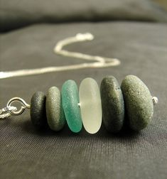 Sea Stack beach pebble and sea glass necklace in shades teal and white Sea Glass Necklace, Sea Glass Jewelry, Cairns, Glass Design, Jewlery, Artisan, Handmade Jewelry, Teal, Shades