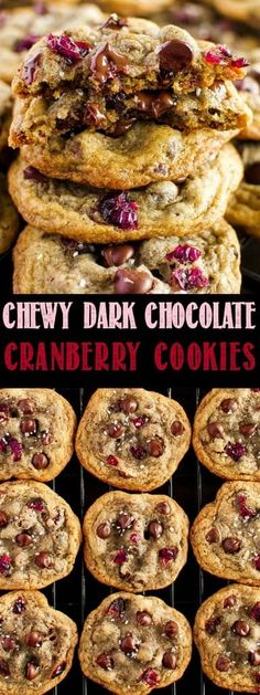 Chewy Dark Chocolate Cranberry Cookies - the ultimate holiday cookies. Sweet and sour, with chocolate in every bite, sprinkled with sparkling vanilla sugar!