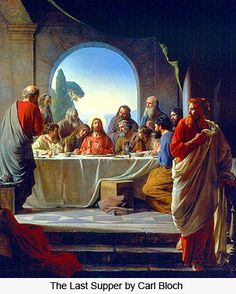 """Judas at the Last Supper by Bloch """"It is the one to whom I hand the morsel after I have dipped it."""" So he dipped the morsel and took it and handed it to Judas, son of Simon the Iscariot. After Judas took the morsel, Satan entered him. So Jesus said to him, """"What you are going to do, do quickly."""" http://www.usccb.org/bible/readings/032613.cfm"""