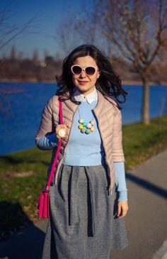 Winter pastels: midi skirt, grey skirt, blue sweater, dusty pink jacket, statement necklace