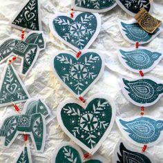 hand crafted garland ornaments ... Swedish folk art  ... lino prints ... Dala horse, tree, heart, bird ...  Folksy photos... - Stockton Crafts Blog