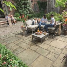 Old Town paving is perfect for creating a garden with a charming, traditional look, with a finish that looks just like authentic reclaimed stone. Patio Slabs, Paved Patio, Patio Stone, Outdoor Paving, Garden Paving, Concrete Paving, Paving Stones, Limestone Paving, Raised Pond