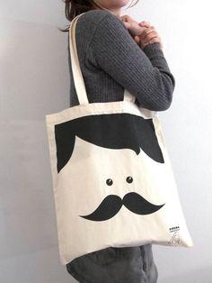 "Mr. Moustache tote bag at ""sirenaconjersey"" Etsy Shop."