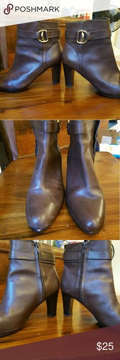 FINAL SALE!  Lauren Ralph Lauren Ankle Boots Size 8 Brown Leather Gold Buckle with strap and R.L.L on buckle 3 inch heel lightly worn small chip at two see pic  Otherwise in great shape Lauren Ralph Lauren Shoes Ankle Boots & Booties