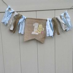Classic Pooh Burlap first Birthday highchair by Hartranftdesign