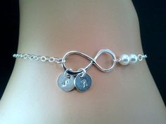PERSONALIZED INITIAL Infinity love with Peals Bracelet   $28.50, via Etsy.