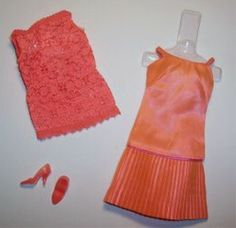 Vintage Mattel Barbie - VINTAGE BARBIE DISCO DATER @1807 (1967-1968) So much fun. A two piece coral outfit. A wonderful coral silk dress with a matching lace top in coral too! Finished off with coral heels.