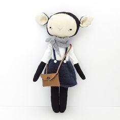 foundling lamb girl  jane  handmade animal doll  door ohalbatross