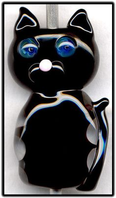 Black Kitty Cat ~Penn~ Focal Handmade Glass Lampwork Bead Handmade SRA W79 :)♥♥♥