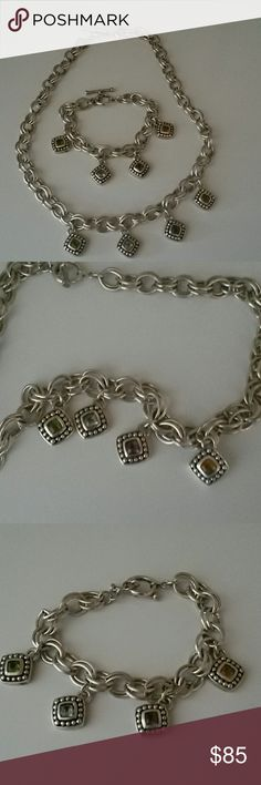 "Sterling silver .925 18in necklace and 7"" bracelet Gorgeous sterling 18in dbl chainlink necklace with real stones of citron, amethyst,  aquamarine, and peridot. Comes with matching bracelet. Offers open .925 sterling silver Jewelry"