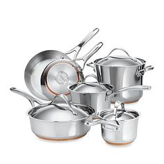 Discover elegant, high-performing stainless steel cookware from Anolon Cookware and bring the gourmet cooking experience home. Our Anolon Nouvelle Copper cookware set includes all of the essential stainless steel pots and pans needed to fully outfit any k Stainless Steel Pot, Stainless Steel Dishwasher, Cast Iron Cookware, Cookware Set, Salat Wraps, Pots And Pans Sets, Induction Cookware, Cocinas Kitchen, Zucchini