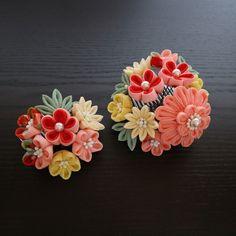 コーラルピンク花よせ飾り つまみ細工 かんざし 髪飾り 成人式 七五三 振袖