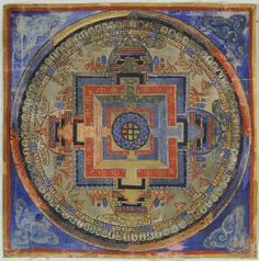 """Kalachakra Mandala,Tibet or Mongolia,1800 - 1899, Rubin Collection """"A bridge is revealed which connects the everyday temporal world of sense perceptions to the realm of timeless knowledge. """" Lama Anagarika Govinda"""