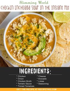 Welcome to my Slimming World Chicken Enchilada Soup recipe in the Instant Pot. A delicious spicy soup perfect for a family supper and so good you will have to have a second bowlful. I love soup. I mean I REALLY LOVE SOUP. I love it in winter to warm me up Chicken Enchilada Soup, Chicken Enchiladas, Instant Pot, Spicy Soup, Big Mac, Slimming World Recipes, Pressure Cooker Recipes, Healthy Recipes, Healthy Soups