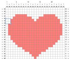 Make a Graphgan Chart Using a Spreadsheet : 6 Steps - Instructables Crochet C2c, Crochet Heart Blanket, Graph Crochet, Crochet Cushions, Crochet Diagram, Tapestry Crochet, Crochet Stitches, Knitting Charts, Knitting Patterns