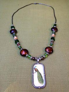 Green Peacock Pendant Necklace Earth Tone by CreativelyCraftedGA