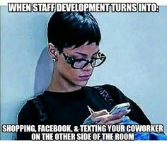 A teacher's face when... staff development turns into shopping, Facebook, and texting...
