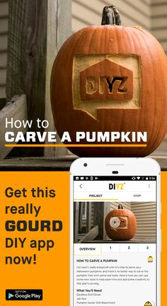 Ready to fall into the season and carve a frightfully good pumpkin? The DIYZ® app makes it easier than ever before! Grab some power tools and your phone to get to work. This free app will give you all the information and guidance you need to tackle any home improvement project with confidence. Download now.