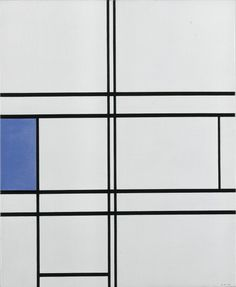 Painting by Mondrian. It is a painting of blu sand white with black lines.