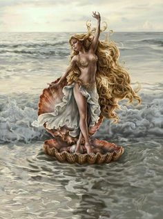 Aphrodite born from the sea, goddess of Love and Beauty