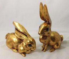 Vtg Pr Gold Leaf Rabbit Signed Figurines Large Eyes Anthony USA McFarlin CA Pot